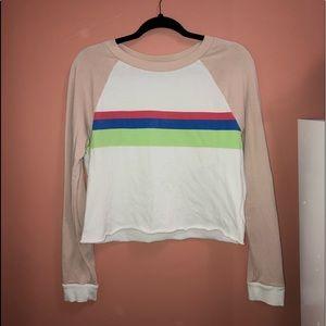 COPY - WILDFOX white, pink, striped crop top